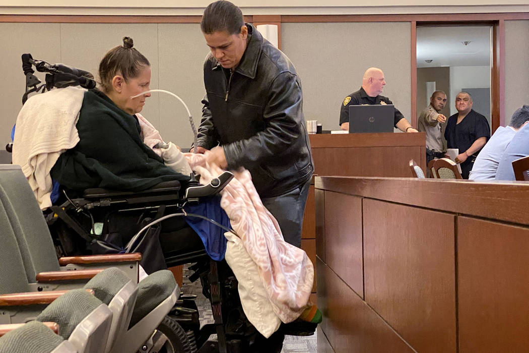 Barbara Owens arrives in the courtroom at the Regional Justice Center in Las Vegas, Wednesday, ...