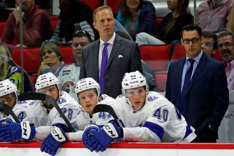 Tampa Bay Lightning head coach Jon Cooper watches play during the third period of an NHL presea ...