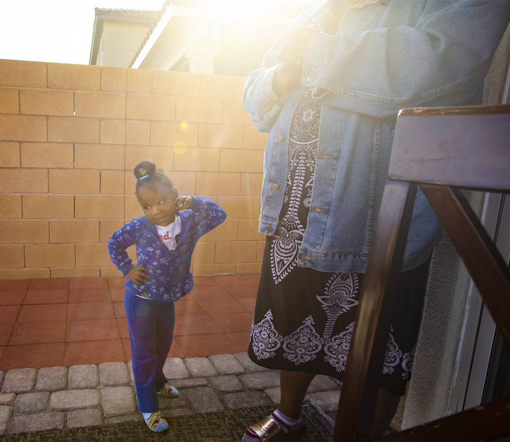 Christine Modica, 3, left, with her great-aunt, Lucille McKnight, at their home in Las Vegas on ...