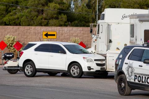 A stolen car crashed into a horse trailer at Flamingo Road and Stephanie Street, near Horseman& ...