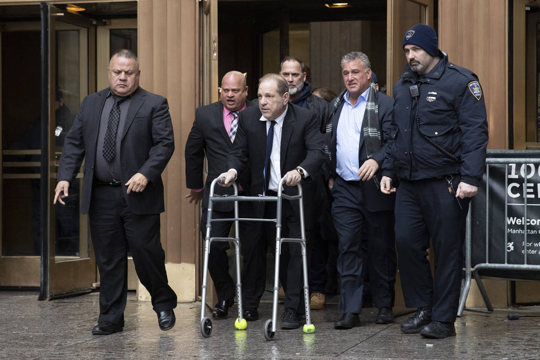 Harvey Weinstein leaves court following a hearing, Wednesday, Dec. 11, 2019 in New York. Weinst ...