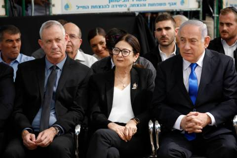 FILE - In this Sept. 19, 2019 file photo, Blue and White party leader Benny Gantz, left, Esther ...