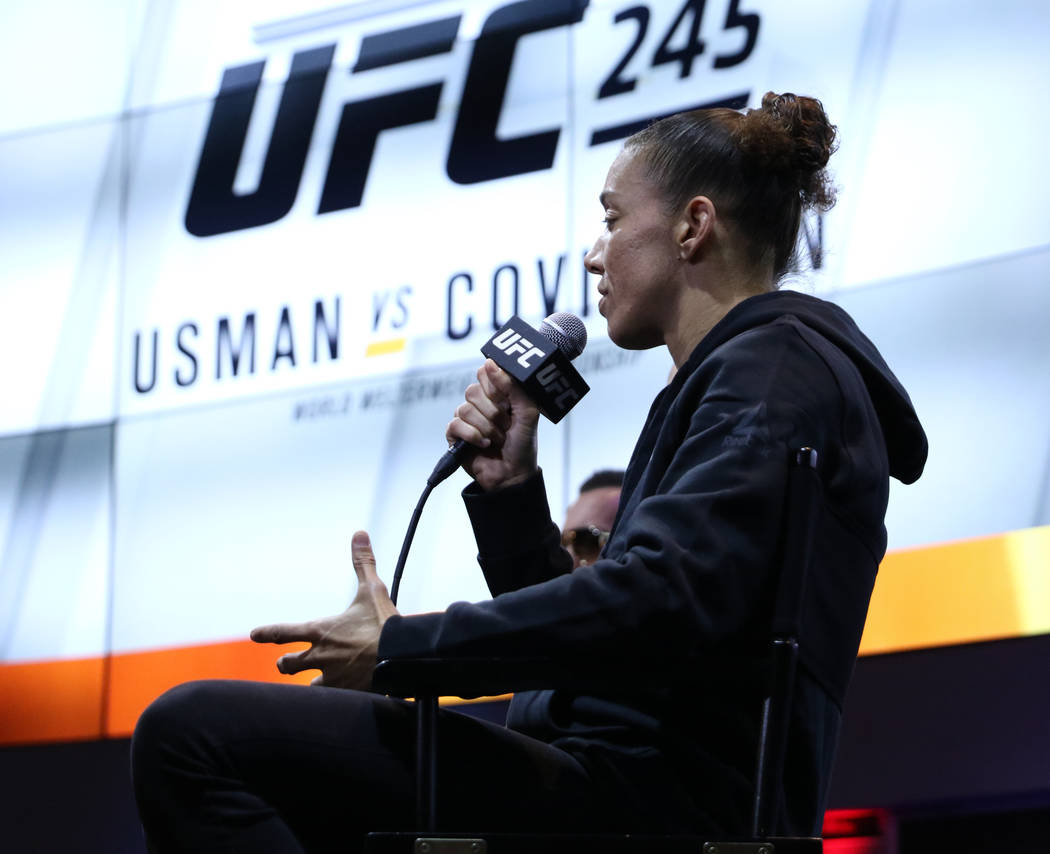 Germaine de Randamie speaks during a UFC 245 media event at the MGM Grand hotel-casino in Las V ...