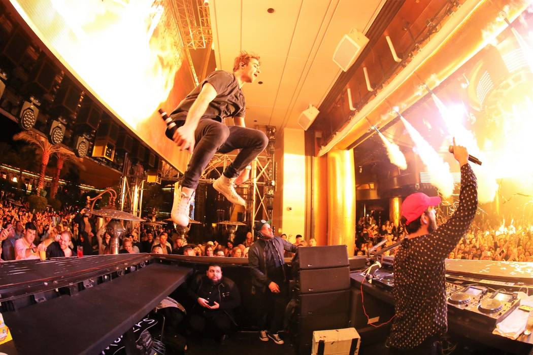 The Chainsmokers take over XS Nightclub on New Year's Eve. (Danny Mahoney)