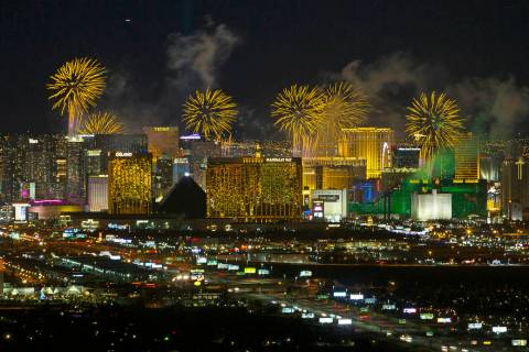 New Year's fireworks explode over the Las Vegas Strip ringing in 2019. (Review-Journal file p ...
