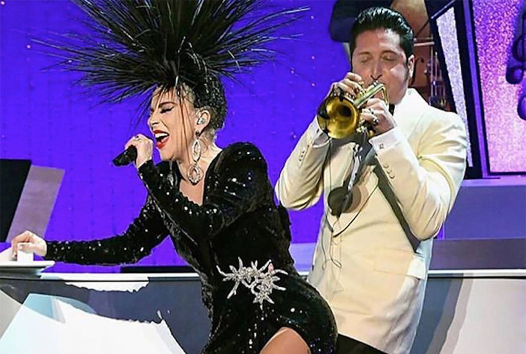 """Lady Gaga performs with bandleader Brian Newman in """"Jazz + Piano"""" at Park Theater on Jan. 20, 2 ..."""
