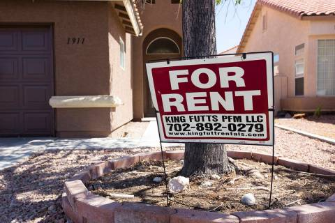 A sign advertises a King Futt's PFM rental home in North Las Vegas, Monday, Sept. 9, 2019. (Rac ...