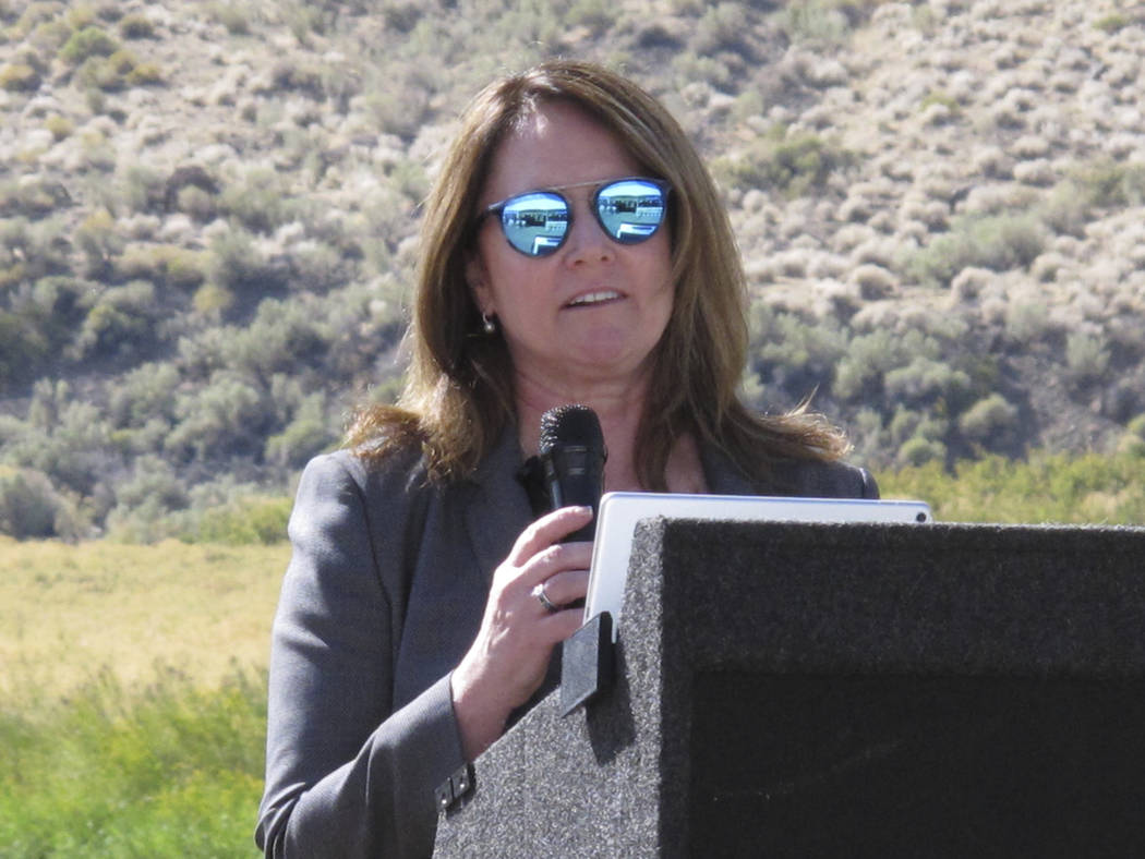 U.S. Bureau of Reclamation Commissioner Brenda Burman speaks Wednesday, Sept. 11, 2019 at a gro ...