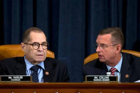 House Judiciary Committee Chairman Jerrold Nadler, D-N.Y., speaks with ranking member Rep. Doug ...