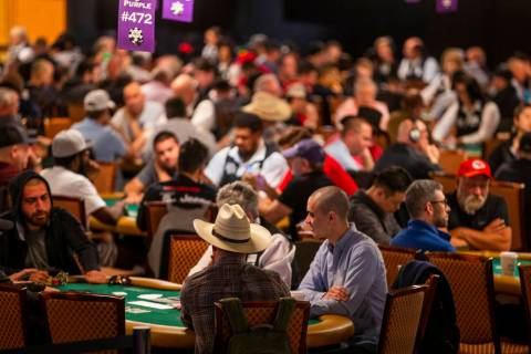 World Series of Poker players compete at the Rio on Saturday, June 1, 2019, in Las Vegas. Caesa ...