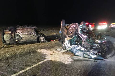 Two vehicles crashed the night of Wednesday, Dec. 11, 2019, on U.S. Highway 95 in Nye County, a ...