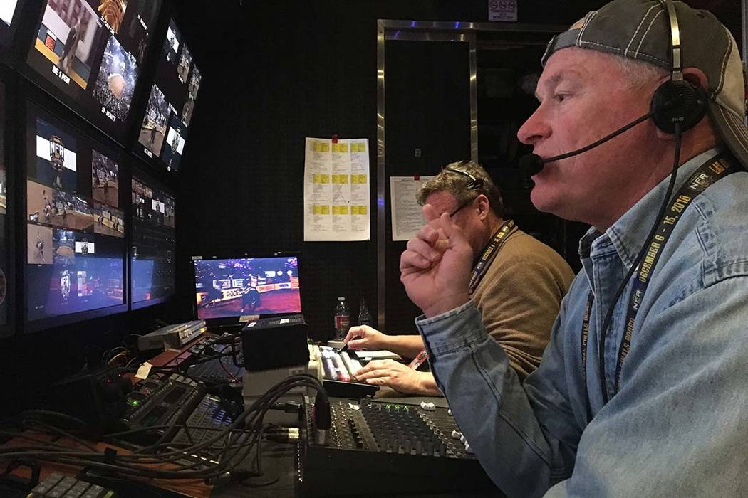 Rick Davidson, who directs the Wrangler NFR's live satellite feed from a production trailer out ...