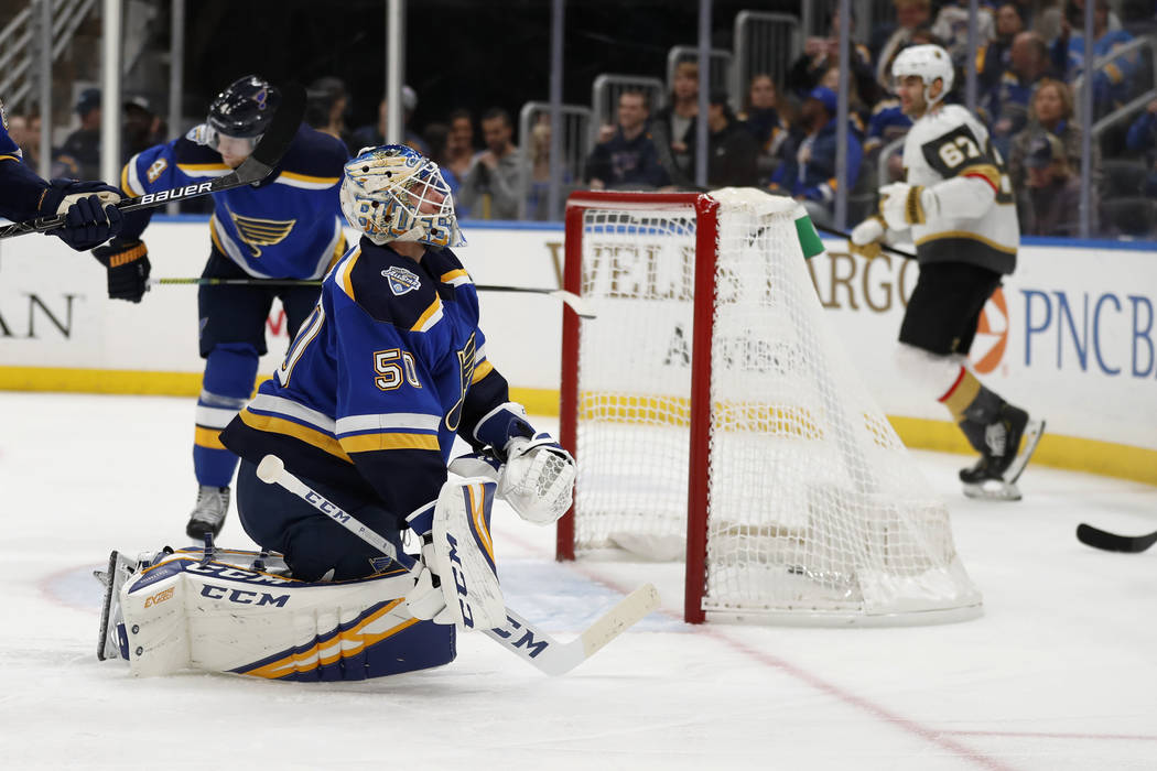 St. Louis Blues goaltender Jordan Binnington (50) reacts after giving up a goal to Vegas Golden ...