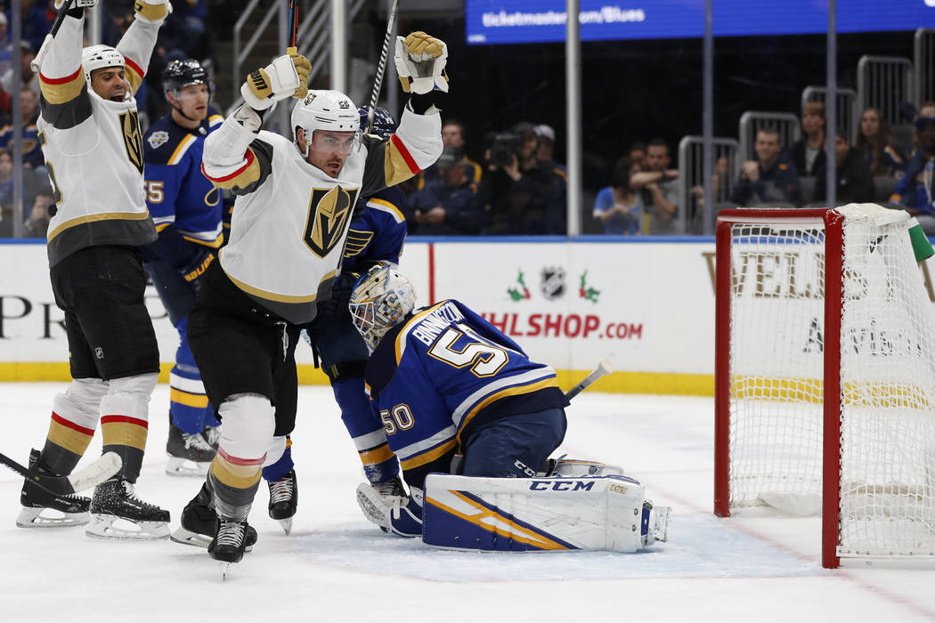 Vegas Golden Knights' William Carrier (28) celebrates after scoring past St. Louis Blues goalte ...