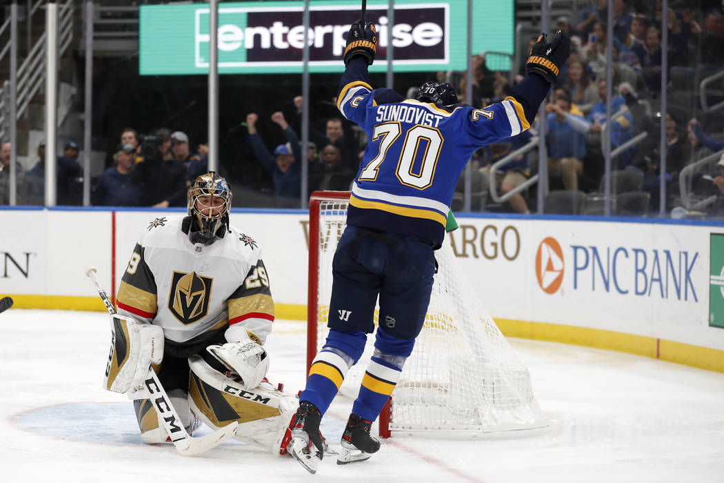 St. Louis Blues' Oskar Sundqvist (70), of Sweden, celebrates after scoring past Vegas Golden Kn ...