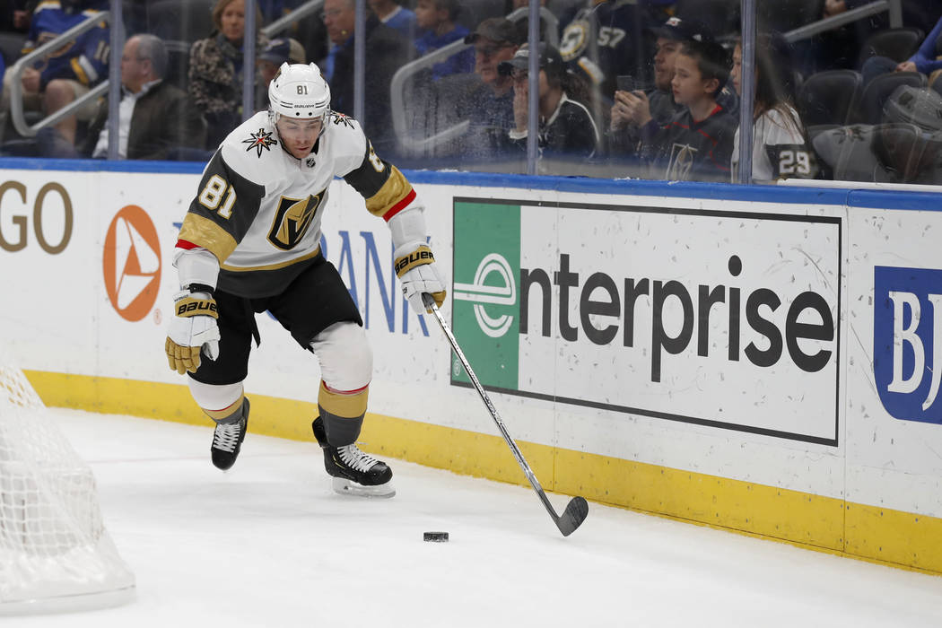 Vegas Golden Knights' Jonathan Marchessault handles the puck during the first period of an NHL ...