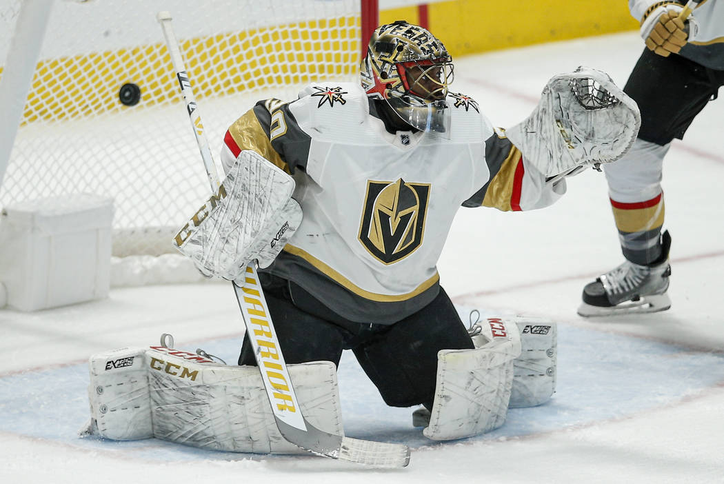 Vegas Golden Knights goaltender Malcolm Subban (30) is unable to stop a shot from Dallas Stars ...