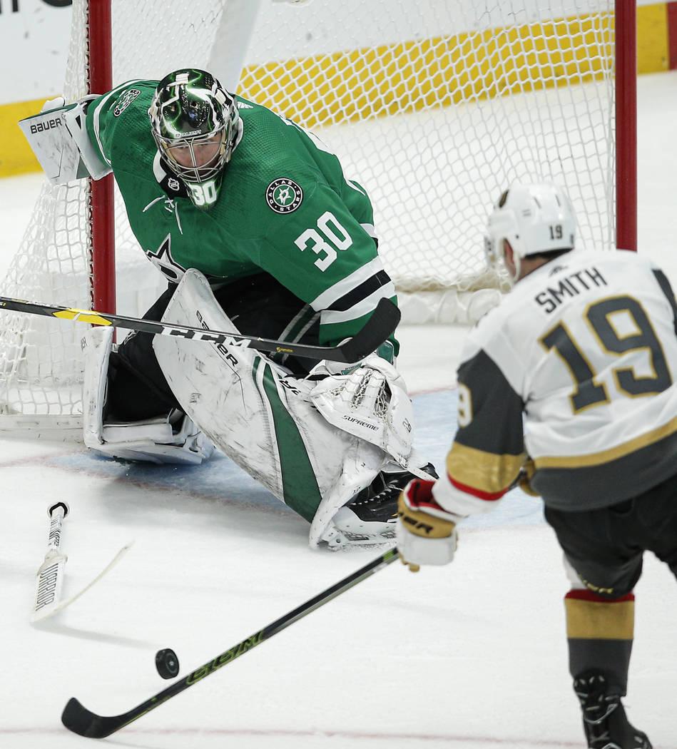 Vegas Golden Knights forward Reilly Smith (19) attempts a shot as Dallas Stars goaltender Ben B ...