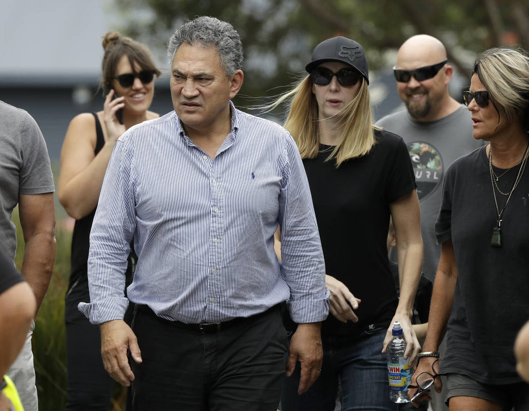 Paul Quinn, chairman of White Island Tours walks from meeting with the family of volcano victim ...