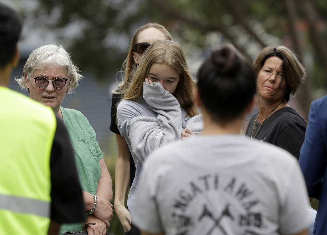 Family of volcano victim Hayden Marshall-Inman, walks from a meeting with Police Minister Stuar ...