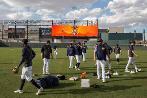 Aviators players warm up before the start of practice during media day at Las Vegas Ballpark, A ...