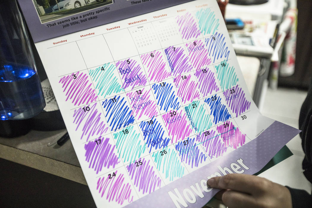 Mary Bodimer shows the Review-Journal her calendar with markings of when different maintenance ...