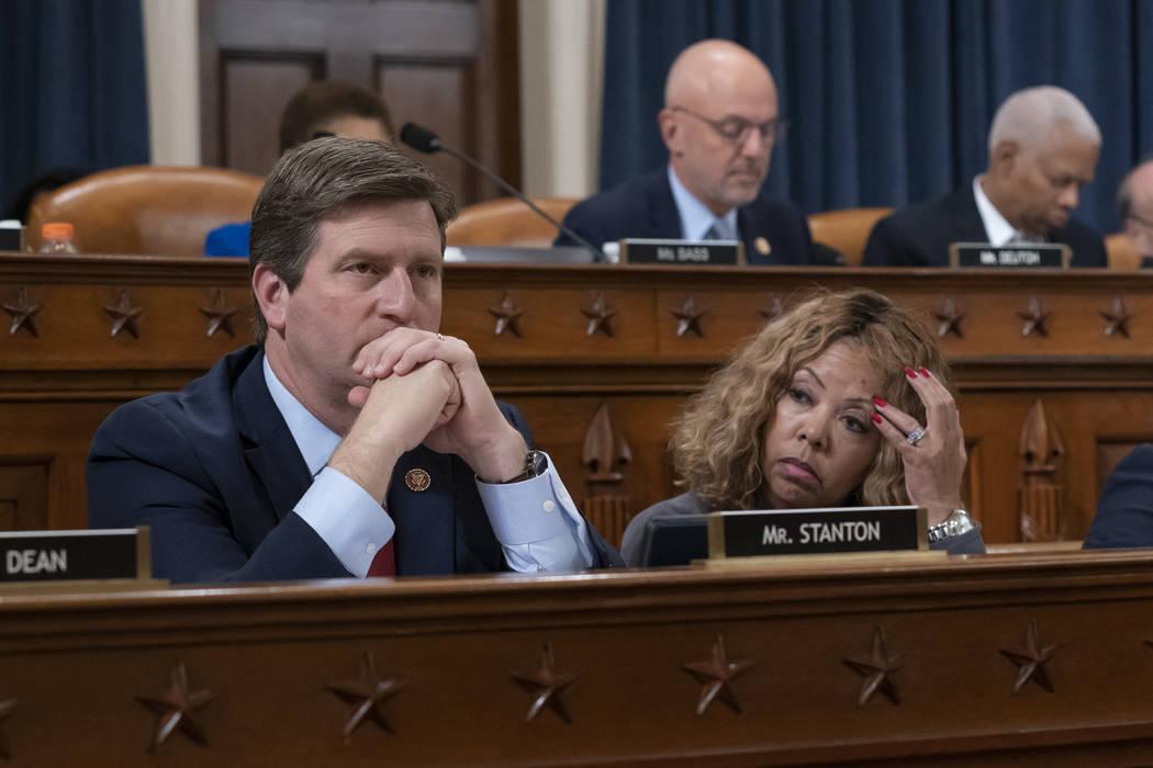 Rep. Greg Stanton, D-Ariz., left, and Rep. Lucy McBath, D-Ga., listen to debate as the House Ju ...