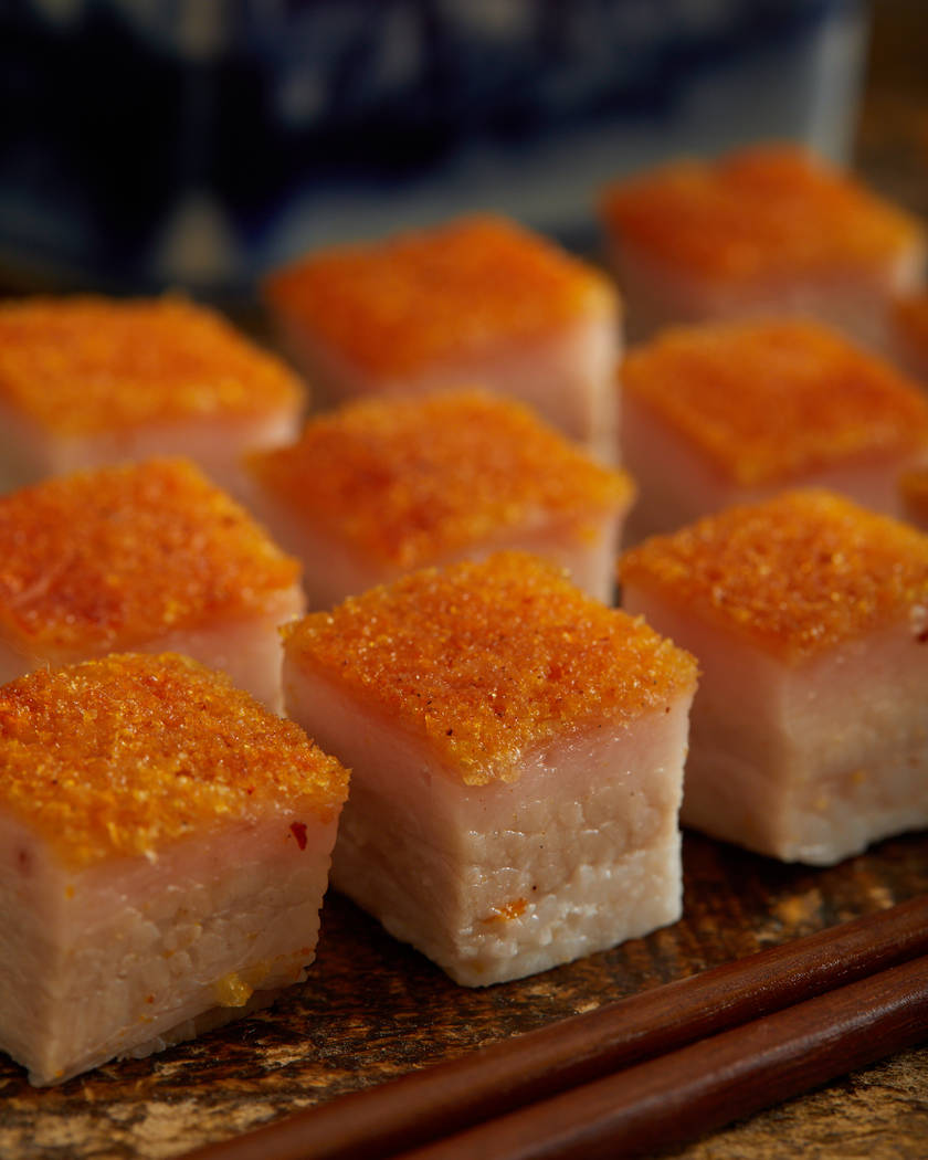 Crispy roasted pork belly at Mott 32 (Maximal Concepts)