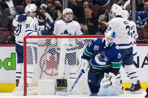 Toronto Maple Leafs' John Tavares, front left, Auston Matthews, back left, Alexander Kerfoot, J ...