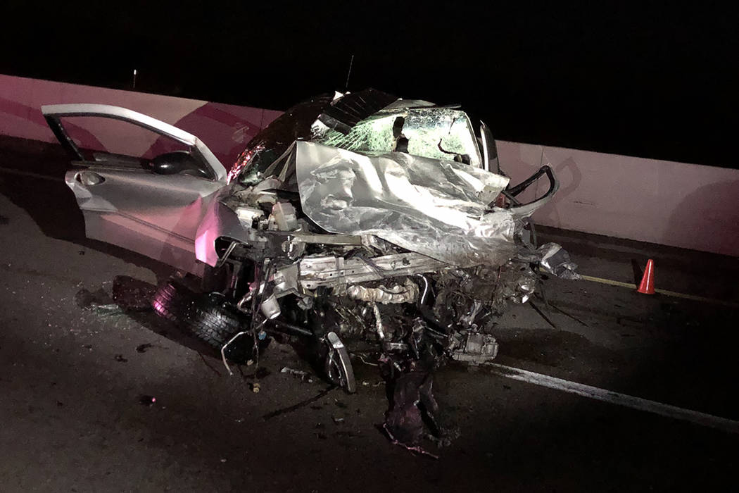 The remains of one of the vehicles involved Thursday, Dec. 5, 2019, in a deadly wrong-way crash ...