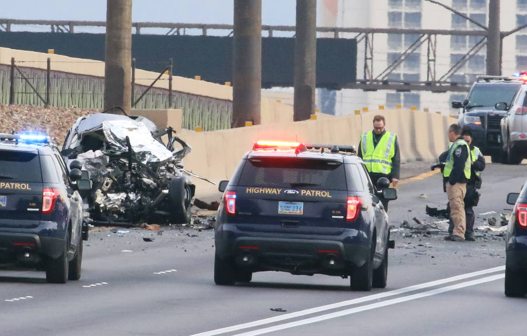 The Nevada Highway Patrol investigates after a wrong-way driver was killed on northbound Inters ...