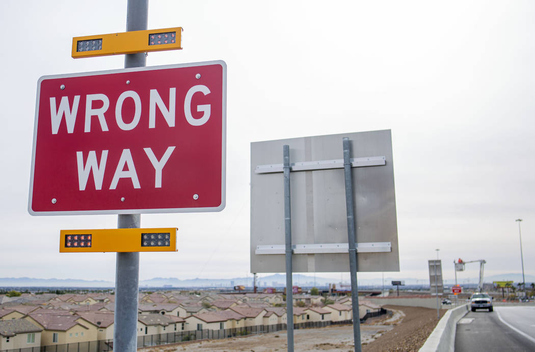 A new Nevada Department of Transportation pilot program to alert wrong way drivers is installed ...