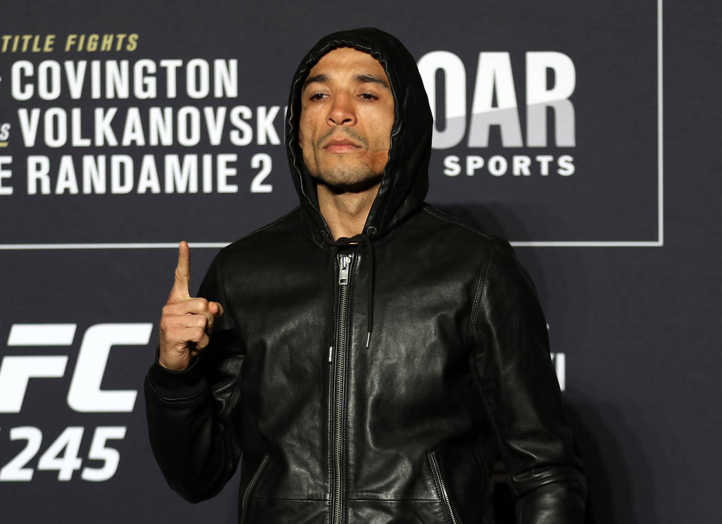 UFC bantamweight Jose Aldo poses for a photo during a UFC 245 media event at the Red Rock hotel ...