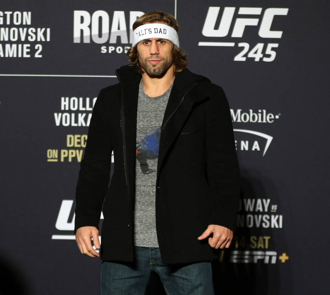 UFC bantamweight Urijah Faber poses for a photo during a UFC 245 media event at the Red Rock ho ...
