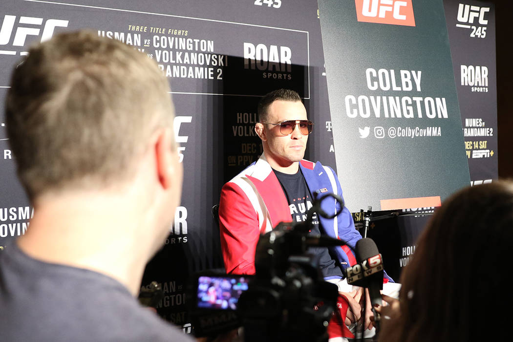 UFC welterweight Colby Covington takes questions from reporters during a UFC 245 media event at ...