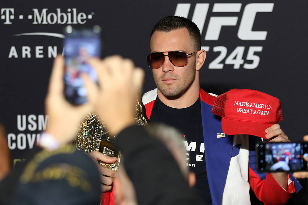 UFC welterweight Colby Covington poses for a photo during a UFC 245 media event at the Red Rock ...