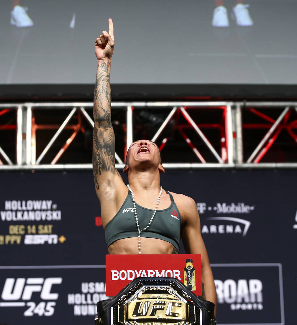 Germaine de Randamie poses during the ceremonial weigh-in event ahead of her fight against Aman ...