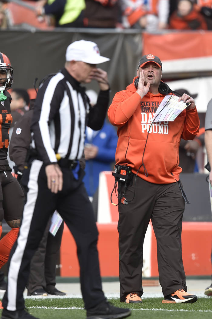 Cleveland Browns head coach Freddie Kitchens yells at an official during the first half of an N ...
