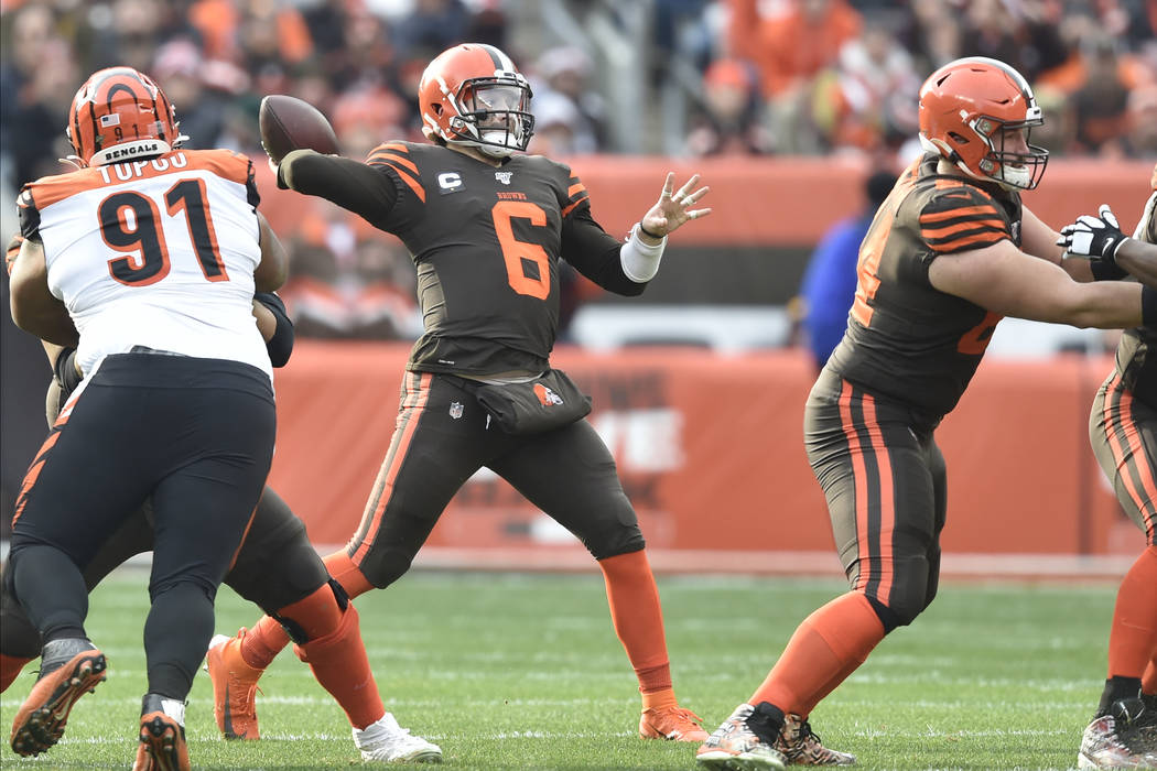 Cleveland Browns quarterback Baker Mayfield throws a pass during an NFL football game against t ...