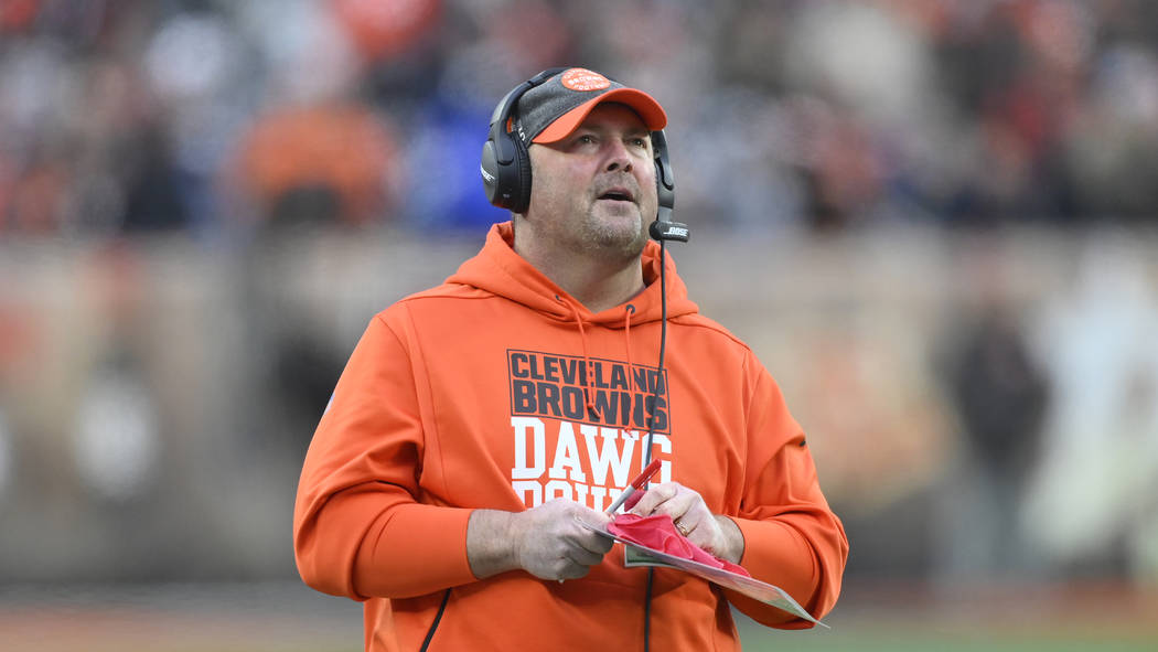 Cleveland Browns head coach Freddie Kitchens reacts during an NFL football game against the Cin ...