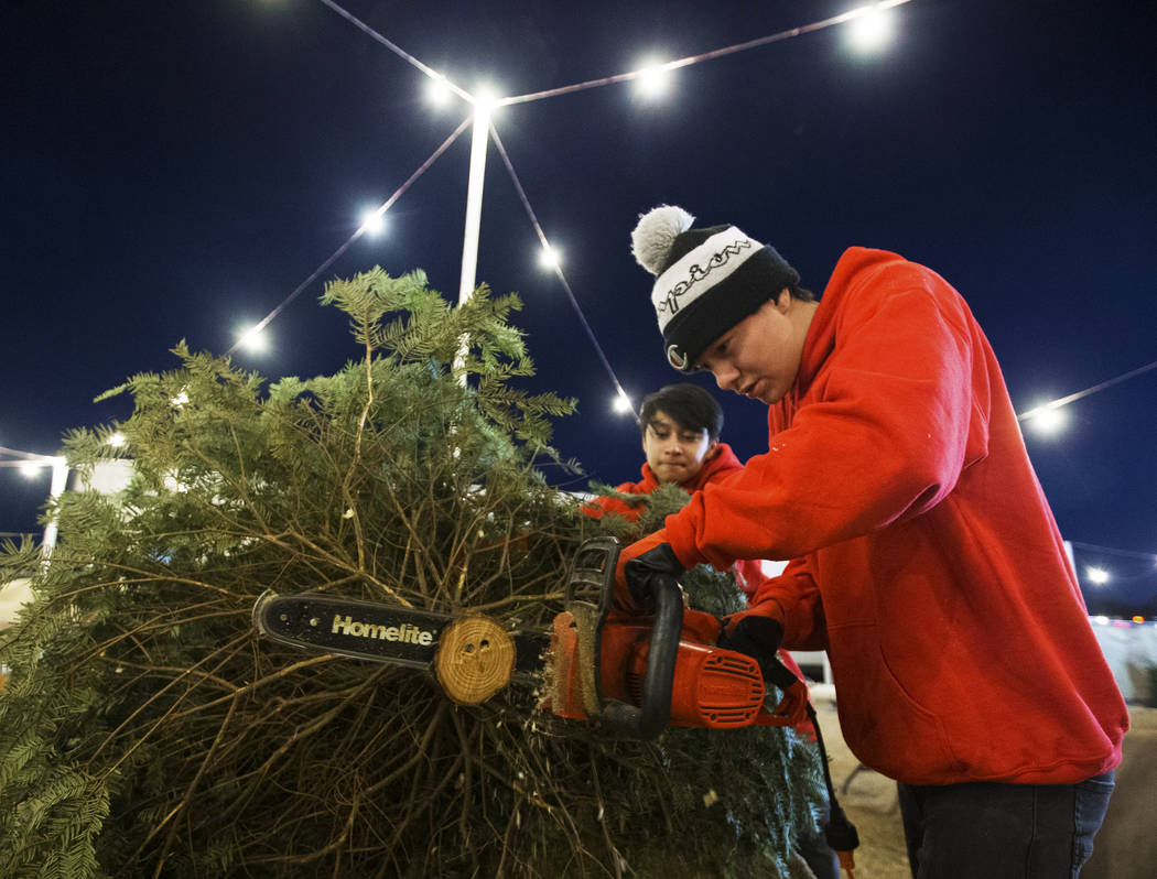 Phoenix Dante, right, and Lincoln Shorter make a fresh cut to the trunk of a Christmas tree on ...