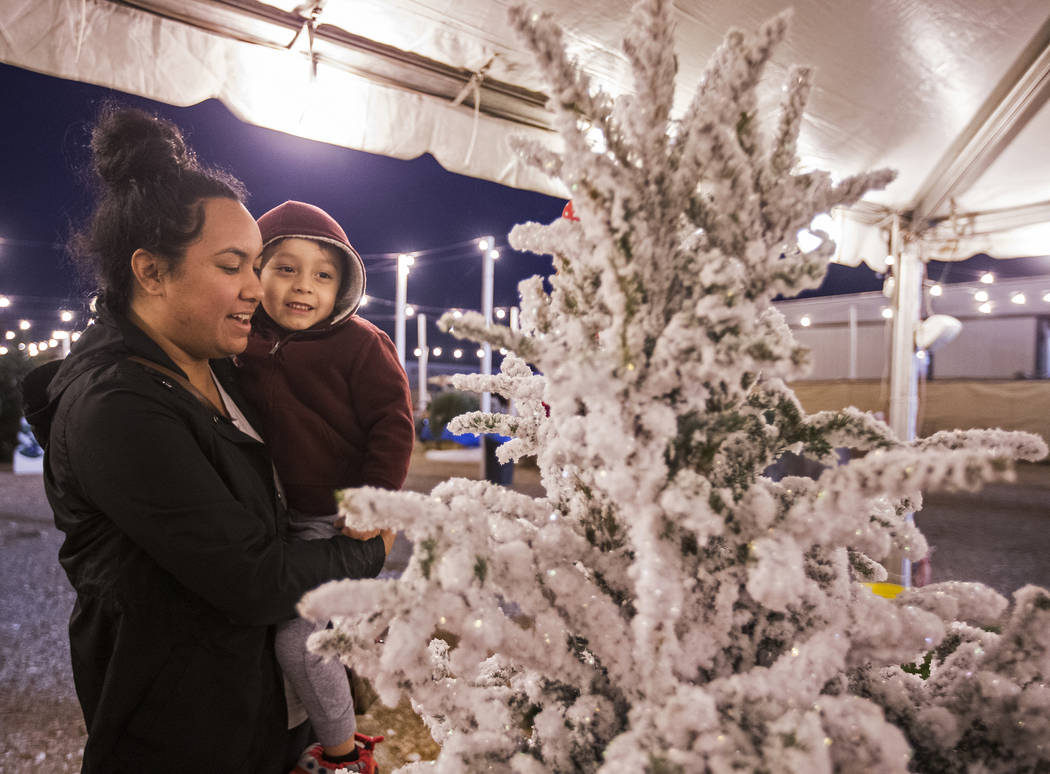 Sharina Kaleikini, left, and Jacob Koapaka, 3, shop for Christmas trees on Wednesday, Dec. 11, ...