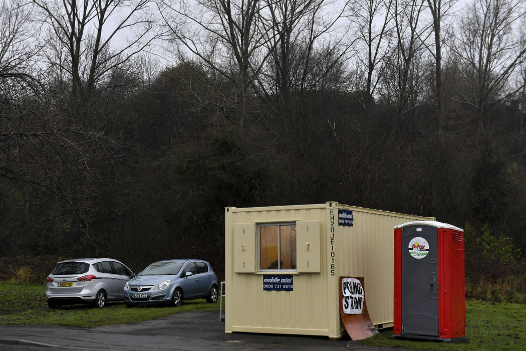 A view of a converted shipping container which is being used as a polling station during the 20 ...