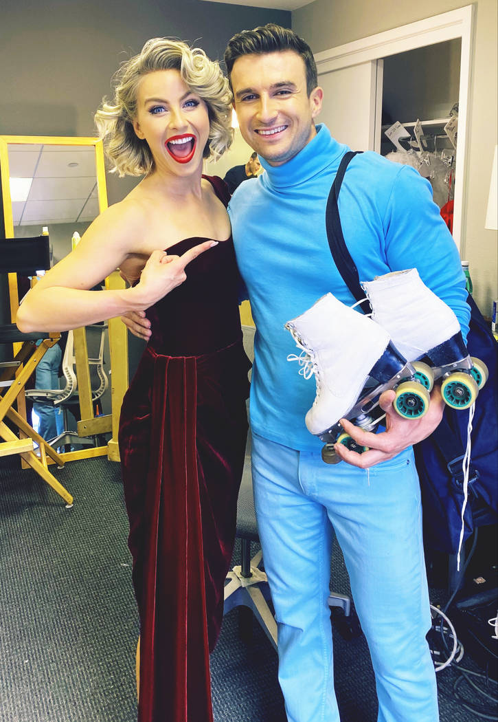 """Julianne Hough and Victor Arata are shown backstage during a taping of """"Holidays With The Hough ..."""