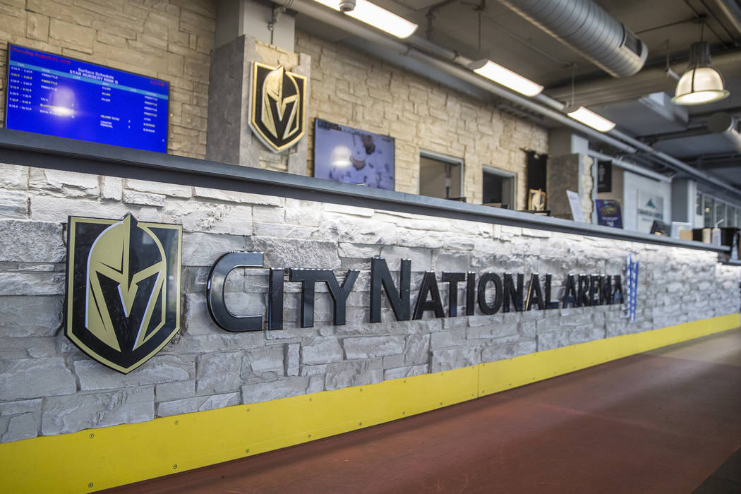 The updated front desk at City National Arena on Thursday, Aug. 23, 2018, in Las Vegas. Benjami ...