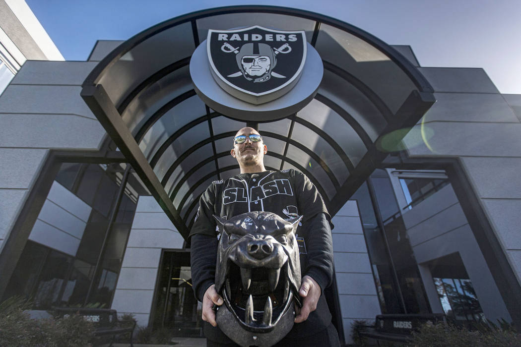 Gilbert Cano, from Ivanhoe, Calif., visits the Oakland Raiders headquarters and practice facili ...