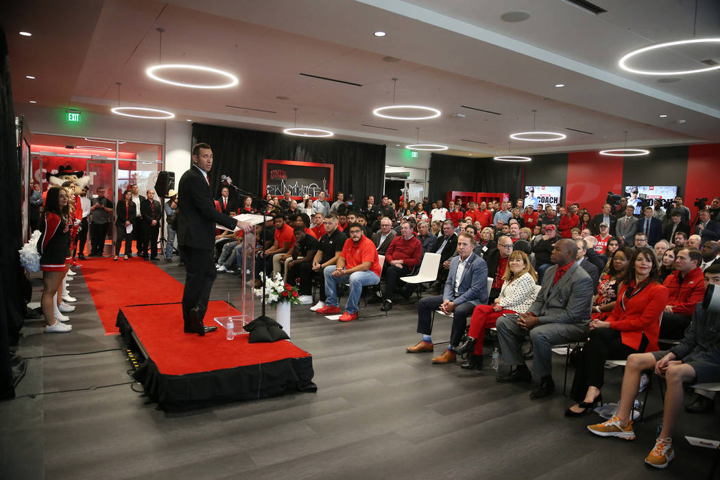UNLV's new football head coach Marcus Arroyo speaks during a press conference at UNLV's Fertitt ...