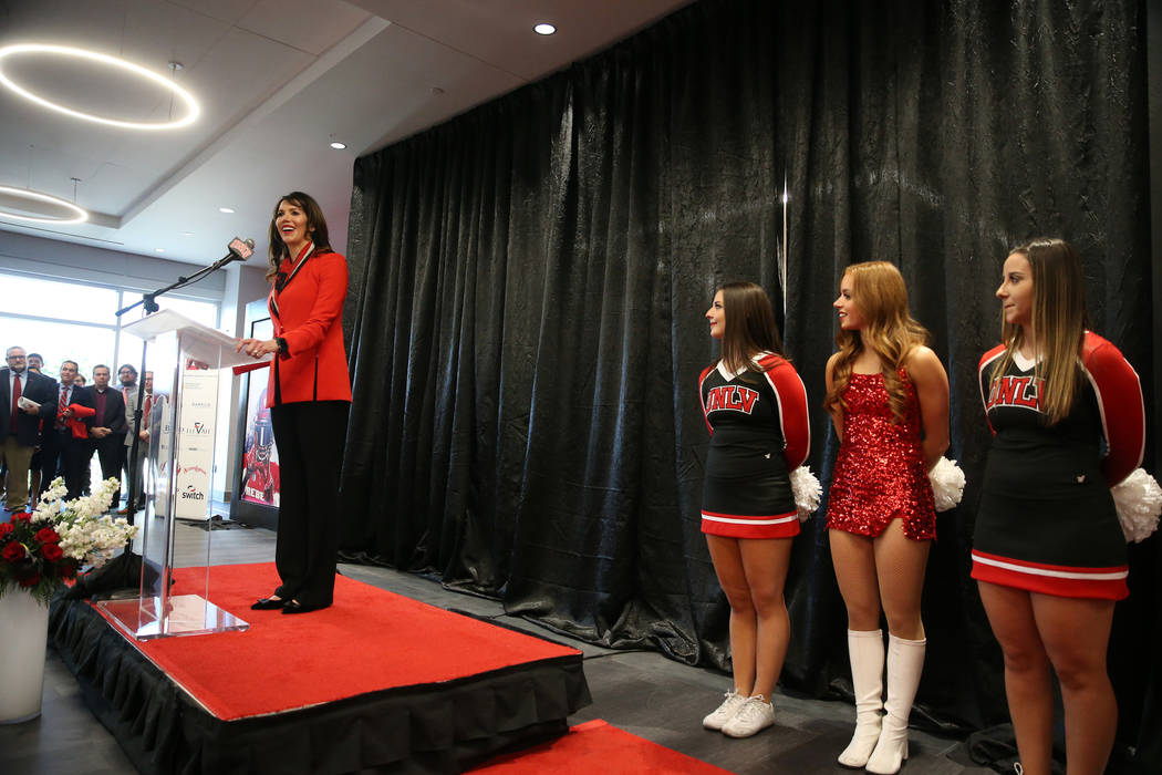 UNLV's Athletic Director Desiree Reed-Francois speaks during a press conference to announce UNL ...
