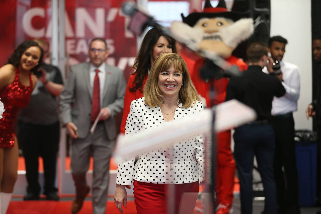 UNLV's President Marta Meana during a press conference to announce UNLV's new football head coa ...