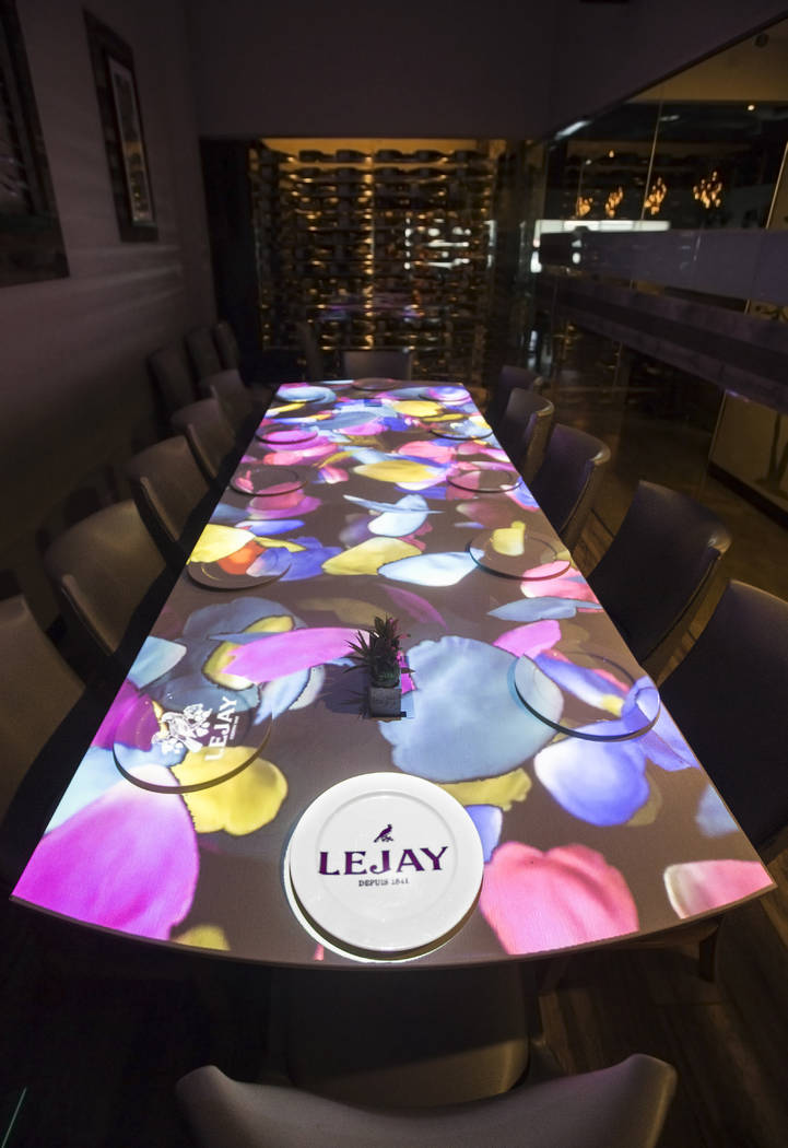 Video mapping technology in the private dining room at Partage on Monday, Sept. 17, 2018, in La ...
